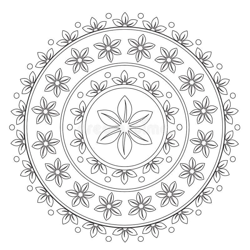 Χρωματισμός του μαύρου λουλουδιού Mandala ελεύθερη απεικόνιση δικαιώματος
