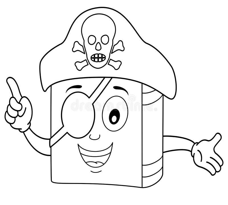 Χρωματισμός του χαριτωμένου βιβλίου πειρατών με το μπάλωμα ματιών απεικόνιση αποθεμάτων