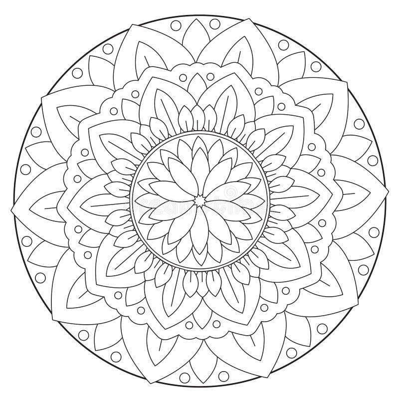Χρωματισμός του Floral φύλλου Mandala διανυσματική απεικόνιση