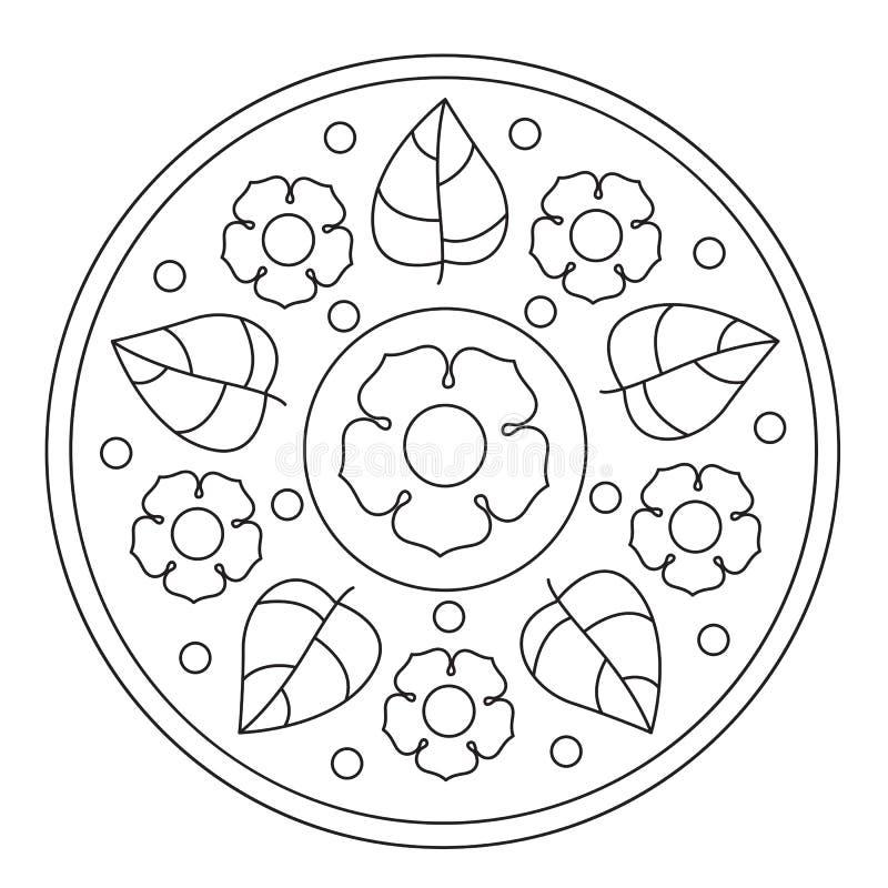 Χρωματισμός των απλών λουλουδιών Mandala διανυσματική απεικόνιση