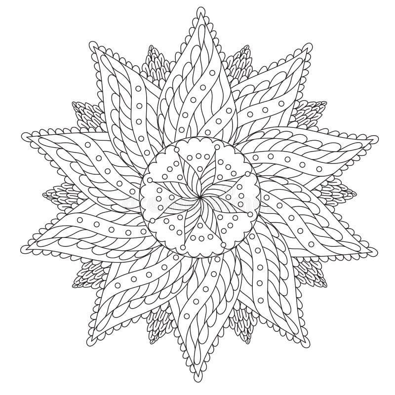 Χρωματισμός Floral εκλεκτής ποιότητας Mandala διανυσματική απεικόνιση