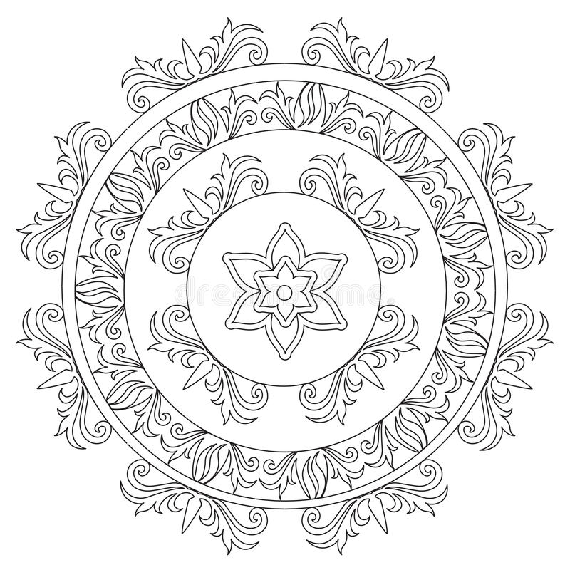 Χρωματισμός Floral διακοσμητικό Mandala διανυσματική απεικόνιση