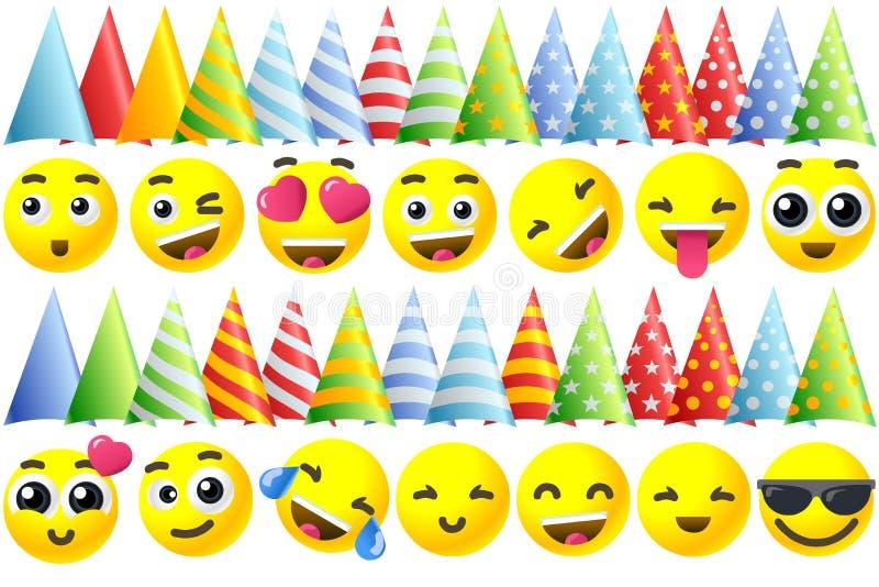 Χρόνια πολλά εικονίδια Emoji διανυσματική απεικόνιση