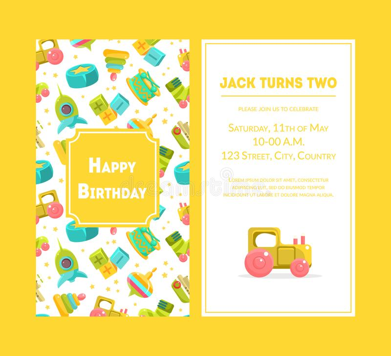 Χρόνια πολλά ευχετήρια κάρτα, κίτρινο πρότυπο πρόσκλησης κόμματος για τη διανυσματική απεικόνιση εορτασμού γενεθλίων αγοράκι διανυσματική απεικόνιση