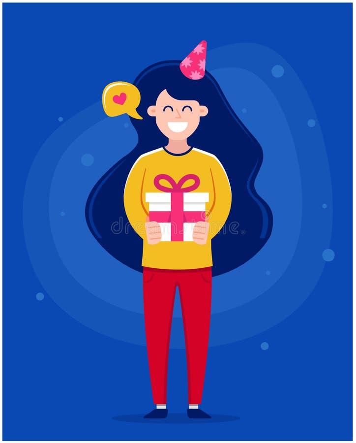 Χρόνια πολλά ευχετήρια κάρτα Κορίτσι που κρατά ένα κέικ με τα κεριά ελεύθερη απεικόνιση δικαιώματος