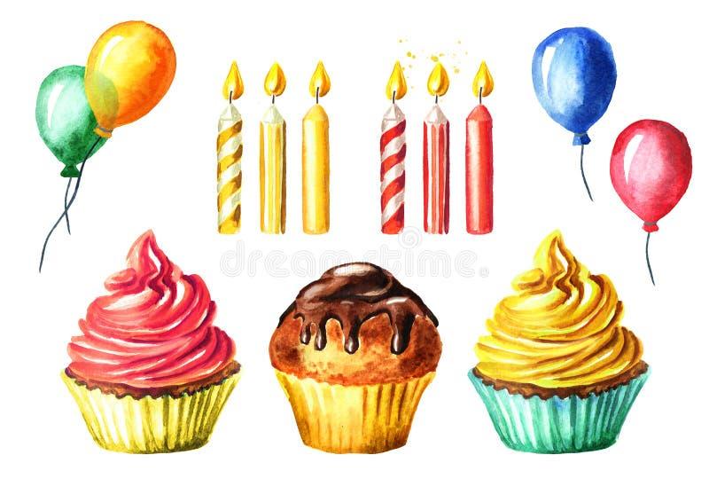 Χρόνια πολλά θέστε με το κέικ, το κερί και το μπαλόνι Συρμένη χέρι απεικόνιση Watercolor, που απομονώνεται στο άσπρο υπόβαθρο στοκ εικόνα