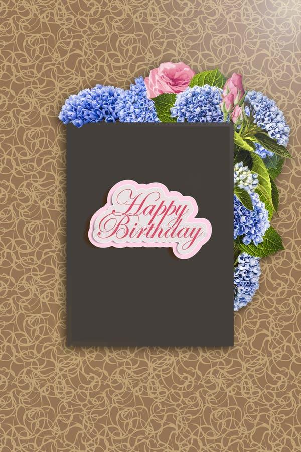 Χρόνια πολλά - κάρτα Το Floral πλαίσιο με το hydrangea, αυξήθηκε και φύλλα ελεύθερη απεικόνιση δικαιώματος