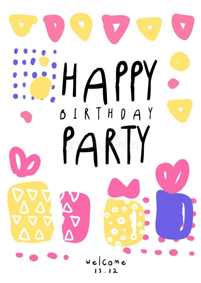 Χρόνια πολλά κόμμα, ζωηρόχρωμο πρότυπο με την ημερομηνία για την αφίσσα, πρόσκληση, αφίσα, έμβλημα, κάρτα, διάνυσμα ιπτάμενων απεικόνιση αποθεμάτων