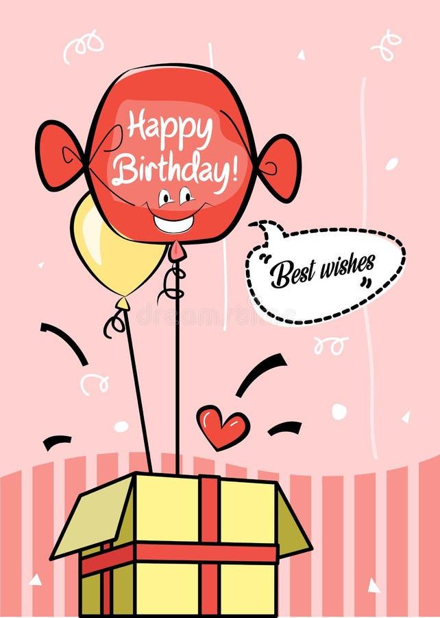 Χρόνια πολλά μπαλόνι μπαλονιών ευχετήριων καρτών δώρων/ηλίου καλύτερων ευχών διανυσματική απεικόνιση