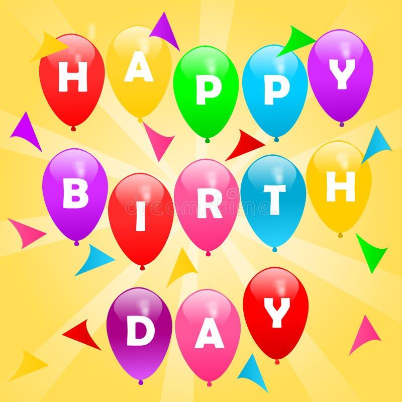Χρόνια πολλά χαιρετώντας Ζωηρόχρωμο πετώντας σημάδι γενεθλίων μπαλονιών στοκ φωτογραφία με δικαίωμα ελεύθερης χρήσης