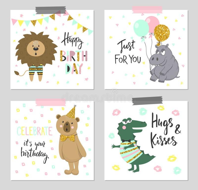 Χρόνια πολλά ευχετήριες κάρτες και πρότυπα πρόσκλησης κομμάτων με τα χαριτωμένα ζώα διανυσματική απεικόνιση