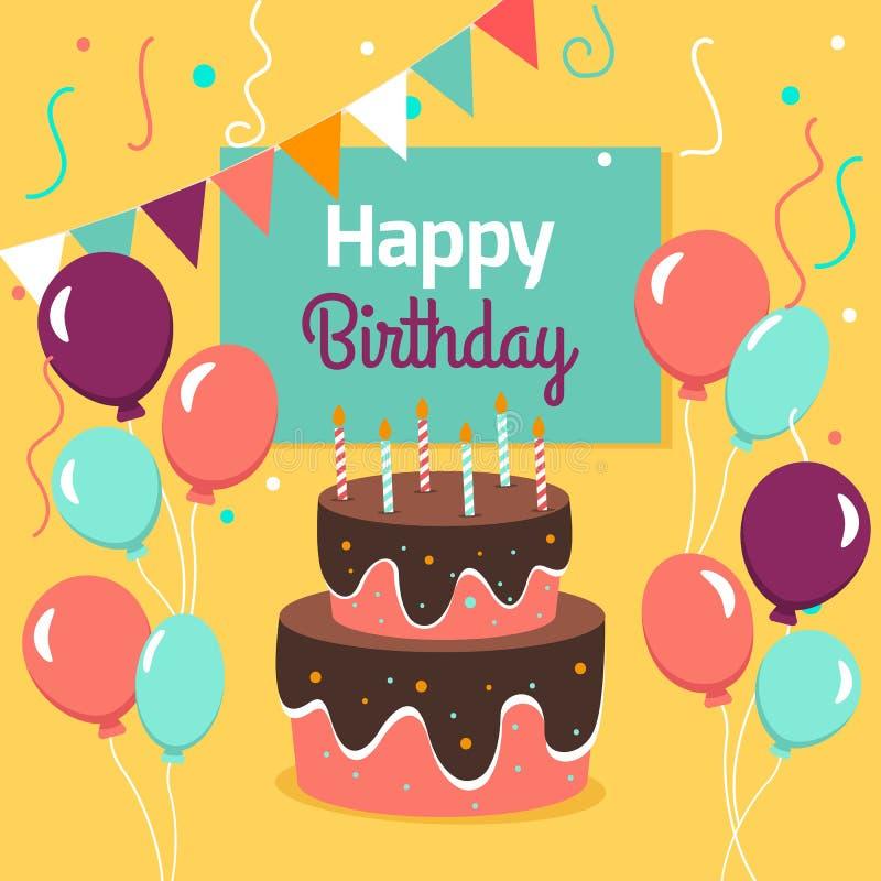Χρόνια πολλά κάρτα κόμματος με το κέικ και ballons επίσης corel σύρετε το διάνυσμα απεικόνισης ελεύθερη απεικόνιση δικαιώματος