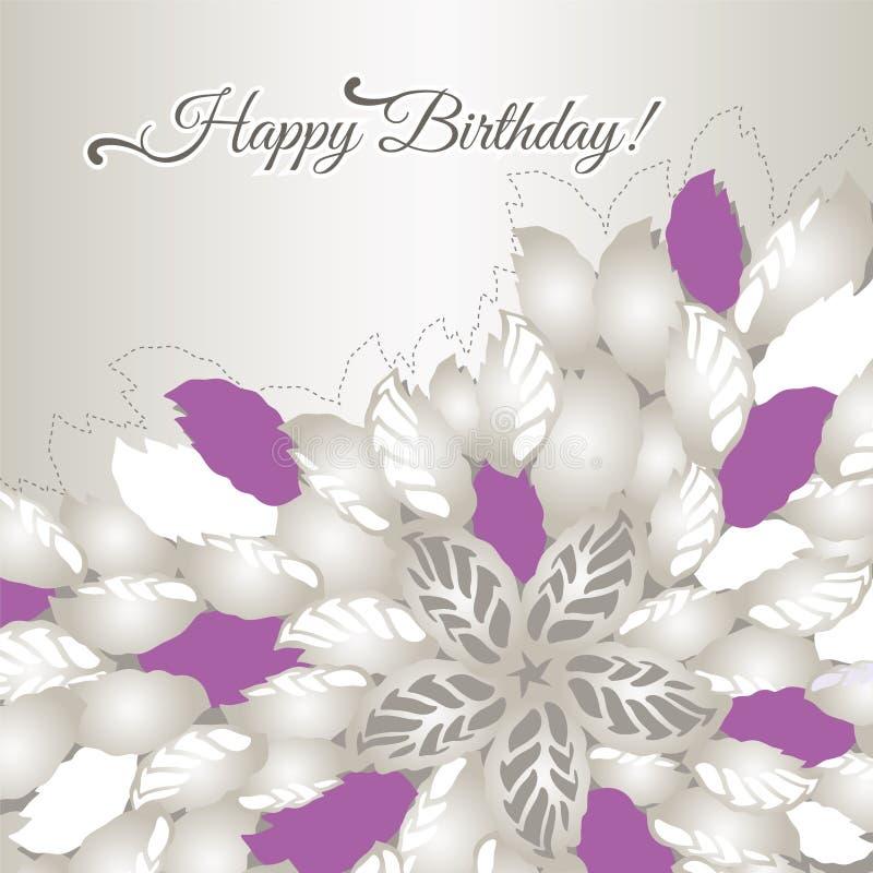 Χρόνια πολλά κάρτα με τα ρόδινα λουλούδια και τα φύλλα διανυσματική απεικόνιση