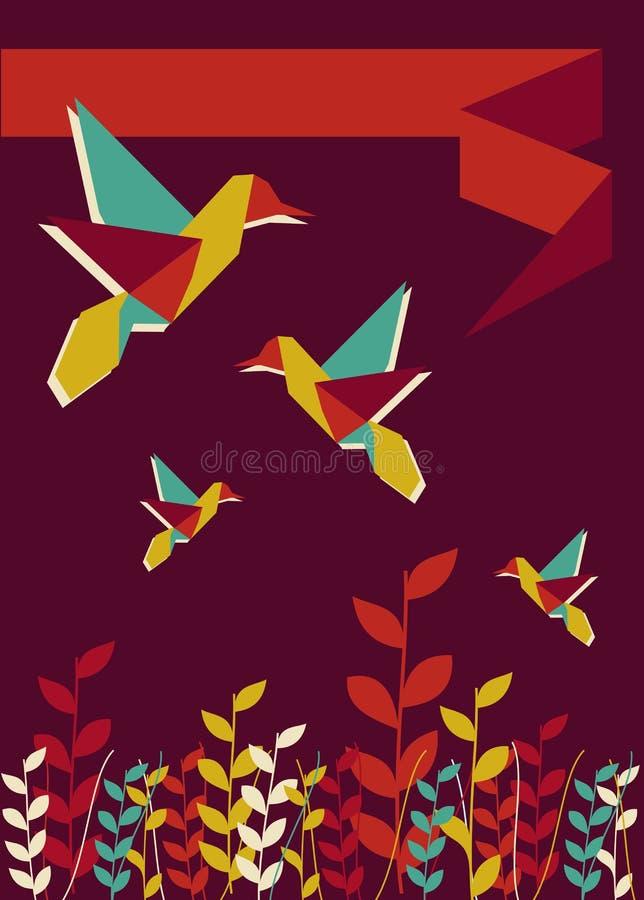 χρόνος άνοιξη origami κολιβρίων διανυσματική απεικόνιση