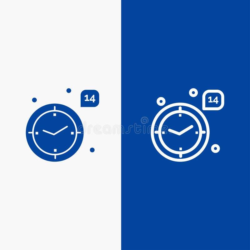 Χρόνος, αγάπη, γάμος, γραμμή καρδιών και στερεά γραμμή εμβλημάτων εικονιδίων Glyph μπλε και στερεό μπλε έμβλημα εικονιδίων Glyph ελεύθερη απεικόνιση δικαιώματος
