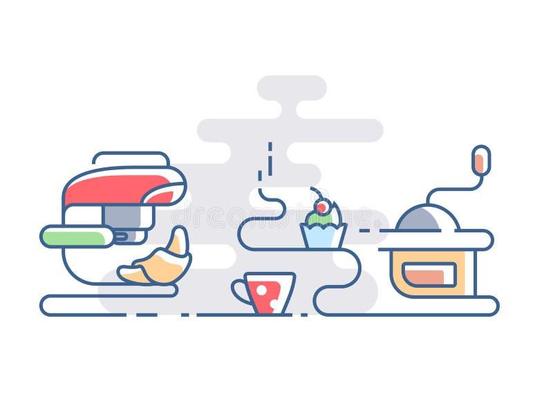 Χρόνος για τον καφέ με croissant διανυσματική απεικόνιση