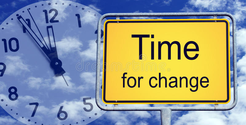 Χρόνος για το σημάδι αλλαγής στοκ φωτογραφίες