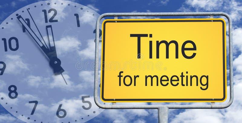 Χρόνος για το σημάδι και το ρολόι συνεδρίασης στοκ εικόνες