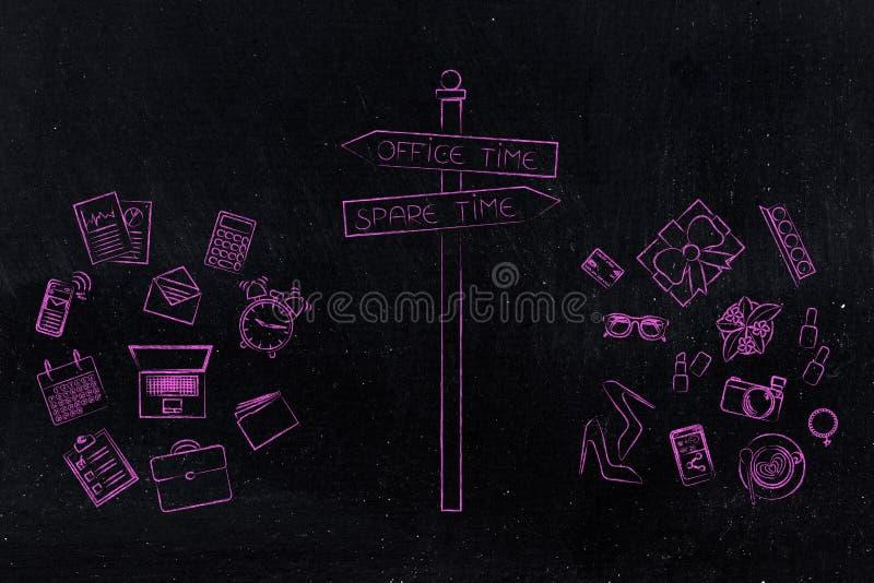 Χρόνος γραφείων ή ελεύθερο σημάδι χρονικών δρόμων με την εργασία και το προσωπικό objec απεικόνιση αποθεμάτων