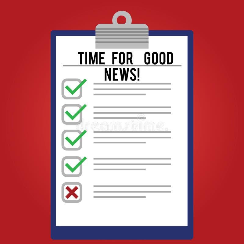 Χρόνος γραψίματος κειμένων γραφής για τις καλές ειδήσεις Έννοια που σημαίνει την επικοινωνία του μεγάλου ευτυχούς ειδικού χρόνου  διανυσματική απεικόνιση