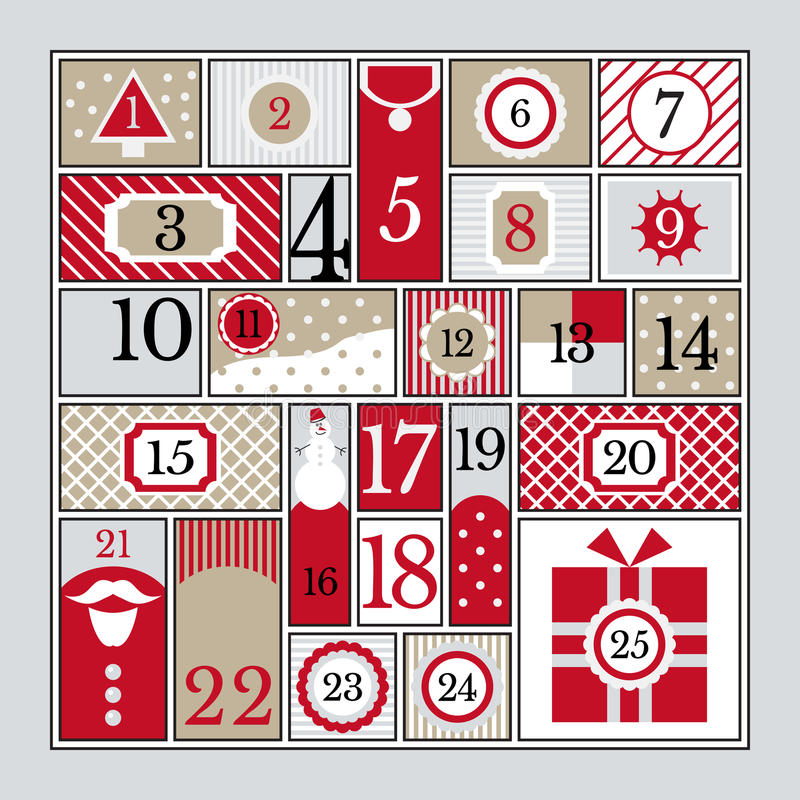 χρόνος εικονιδίων στοιχείων Χριστουγέννων ημερολογιακών κινούμενων σχεδίων εμφάνισης διάφορος διανυσματική απεικόνιση