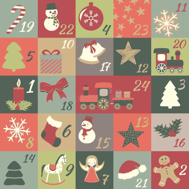 χρόνος εικονιδίων στοιχείων Χριστουγέννων ημερολογιακών κινούμενων σχεδίων εμφάνισης διάφορος απεικόνιση αποθεμάτων
