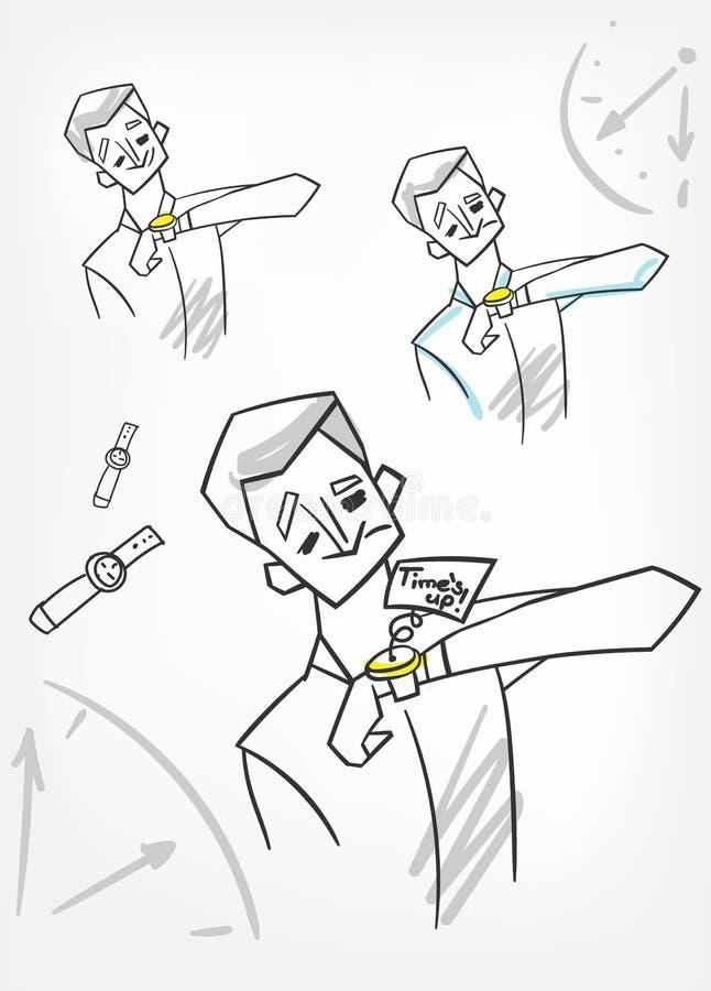 Χρόνος επάνω στο διανυσματικό σκίτσο έννοιας απεικόνισης doodle διανυσματική απεικόνιση