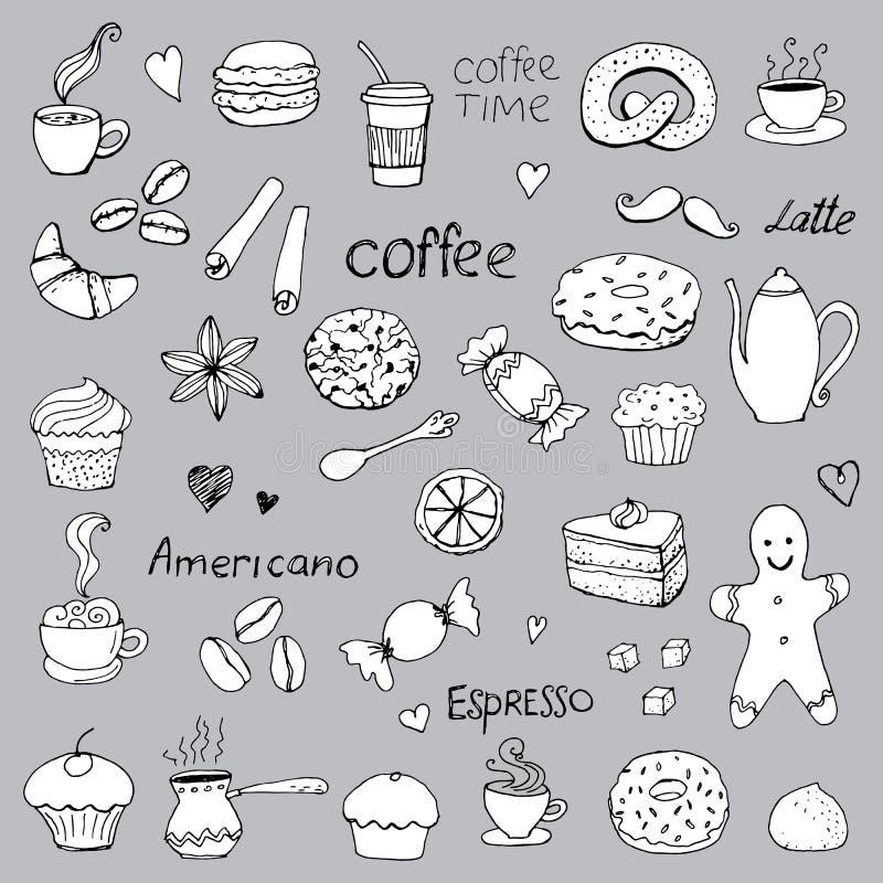 Χρόνος καφέ, doodle σχέδιο, διανυσματικά σύμβολα, ελεύθερη απεικόνιση δικαιώματος