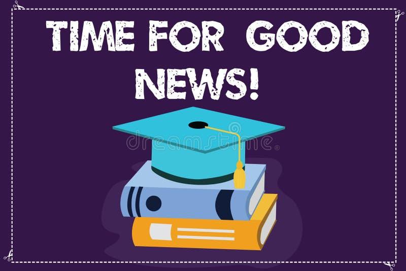 Χρόνος κειμένων γραψίματος λέξης για τις καλές ειδήσεις Επιχειρησιακή έννοια για την επικοινωνία του μεγάλου ευτυχούς ειδικού χρο απεικόνιση αποθεμάτων
