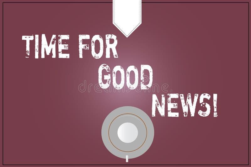 Χρόνος κειμένων γραψίματος λέξης για τις καλές ειδήσεις Επιχειρησιακή έννοια για την επικοινωνία του μεγάλου ευτυχούς ειδικού χρο ελεύθερη απεικόνιση δικαιώματος