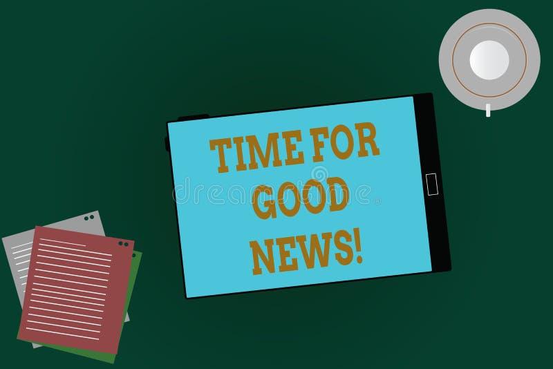 Χρόνος κειμένων γραψίματος λέξης για τις καλές ειδήσεις Επιχειρησιακή έννοια για την επικοινωνία της μεγάλης ευτυχούς ειδικής χρο απεικόνιση αποθεμάτων