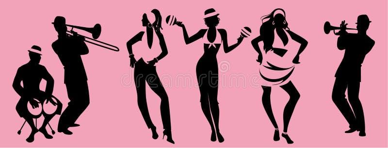 Χρόνος κόμματος Salsa Ομάδα λατινικής μουσικής χορού τριών κοριτσιών και τριών bongos παιχνιδιού μουσικών, σάλπιγγας και τρομπονι απεικόνιση αποθεμάτων