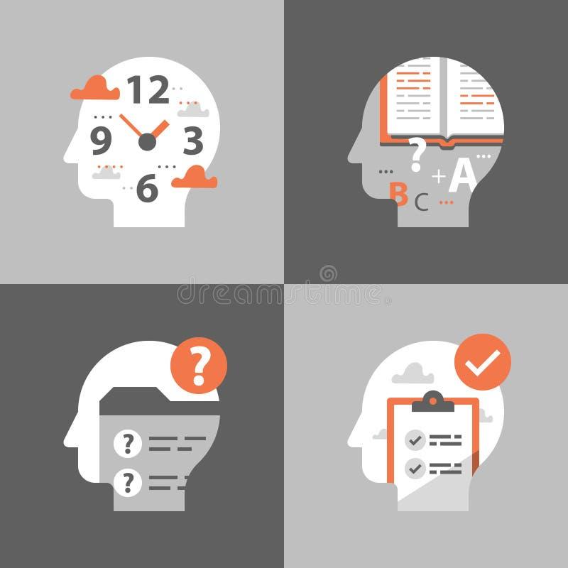 Χρόνος να μάθει, γρήγορη έννοια εκπαίδευσης, προετοιμασία διαγωνισμών, δοκιμή περασμάτων, γνώση αναθεώρησης απεικόνιση αποθεμάτων