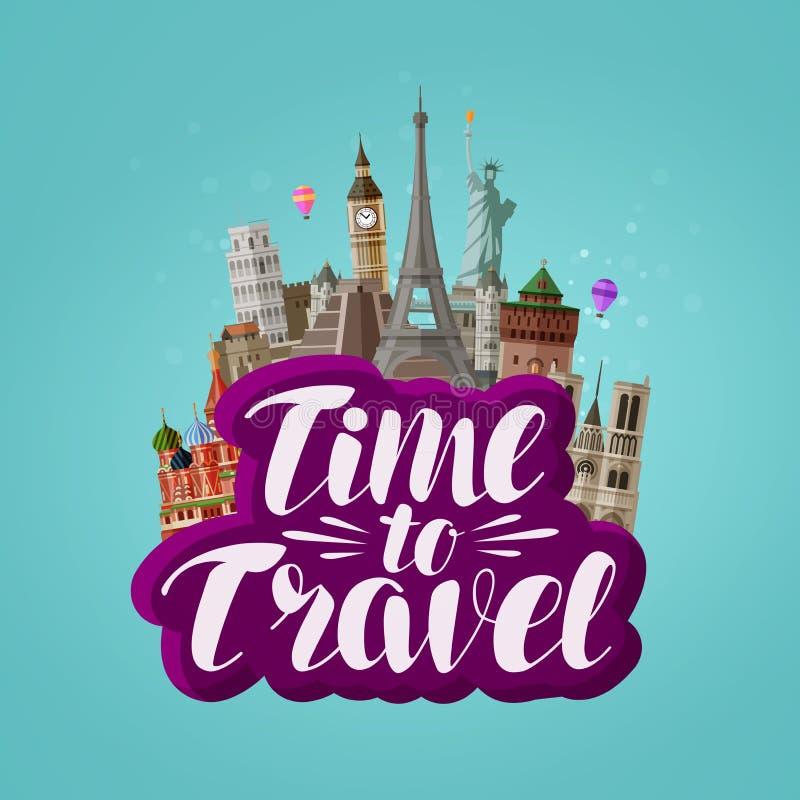 Χρόνος να ταξιδεψει, έμβλημα Ταξίδι, που ταξιδεύει σε όλο τον κόσμο, έννοια ελεύθερη απεικόνιση δικαιώματος