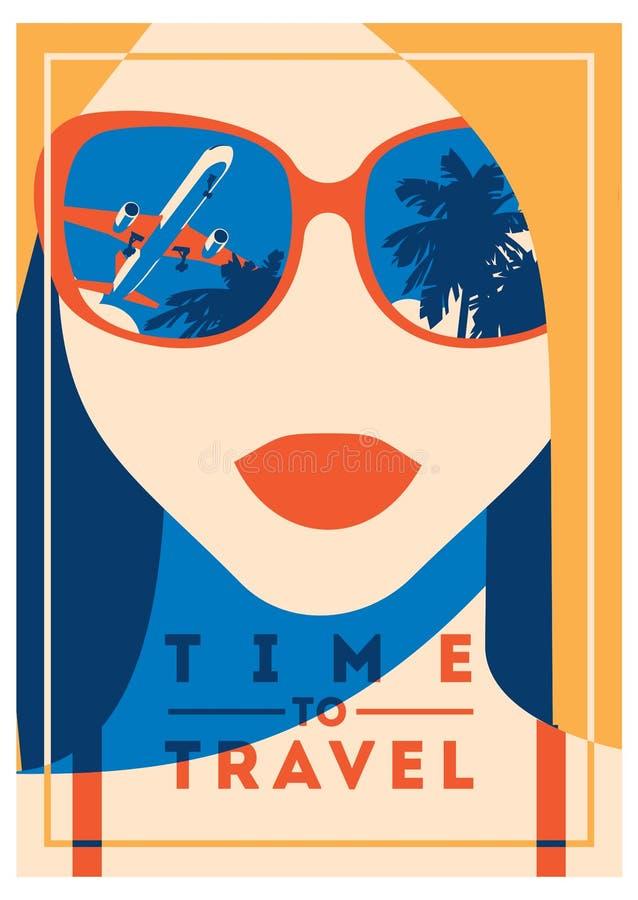 Χρόνος να ταξιδεψει και αφίσα καλοκαιρινό εκπαιδευτικό κάμπινγκ ελεύθερη απεικόνιση δικαιώματος