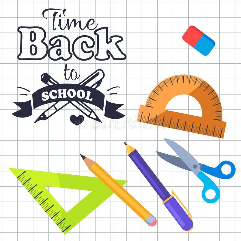 Χρόνος πίσω στη σχολική επιγραφή με το διάνυσμα λογότυπων απεικόνιση αποθεμάτων