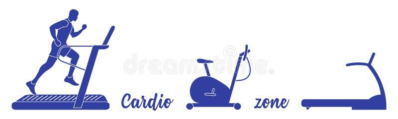 Χρόνος στην ικανότητα και τον αθλητισμό r Άτομο που συμμετέχει στον αθλητισμό, treadmills, ποδήλατο άσκησης ελεύθερη απεικόνιση δικαιώματος