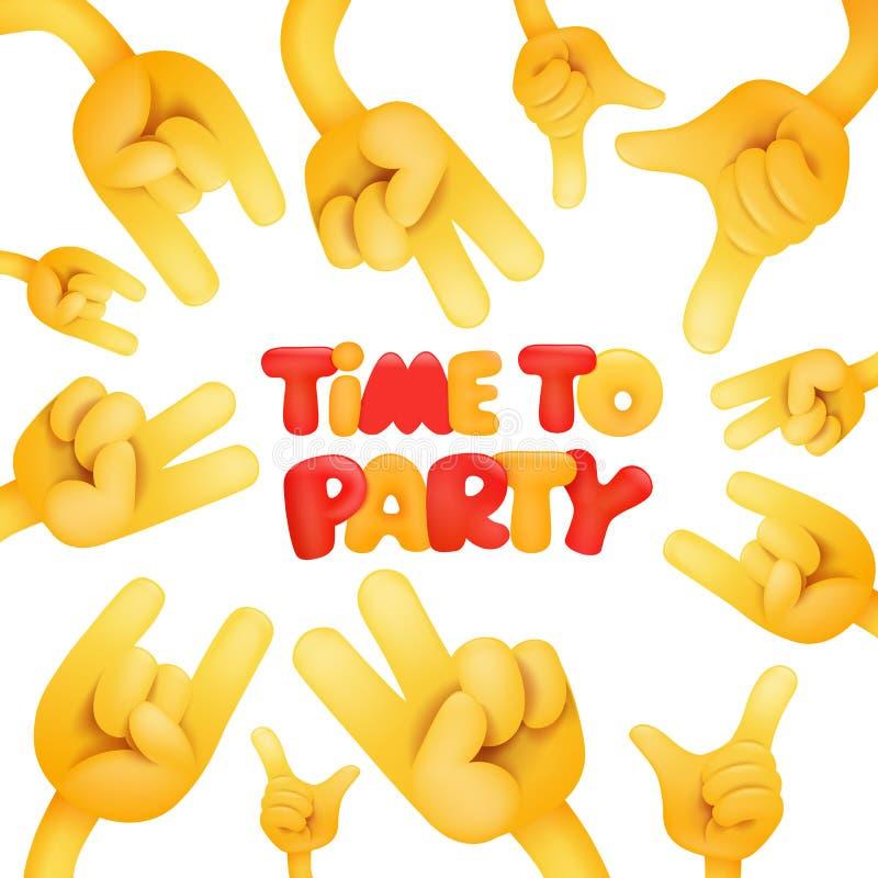 Χρόνος στην κάρτα πρόσκλησης κομμάτων με τα κίτρινα χέρια smiley ελεύθερη απεικόνιση δικαιώματος