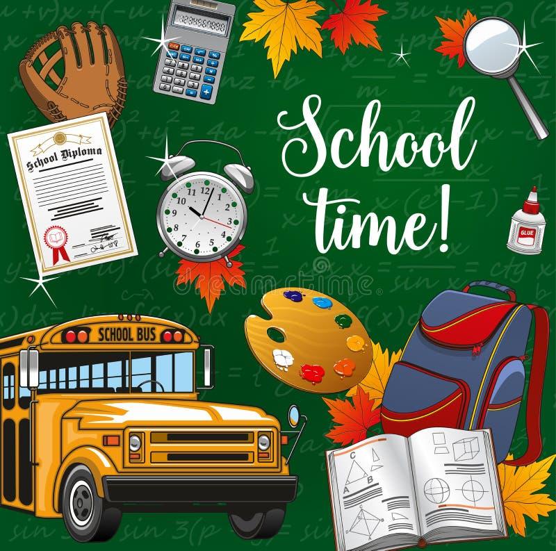 Χρόνος στη σχολική εγγραφή, προμήθειες χαρτικών, λεωφορείο απεικόνιση αποθεμάτων