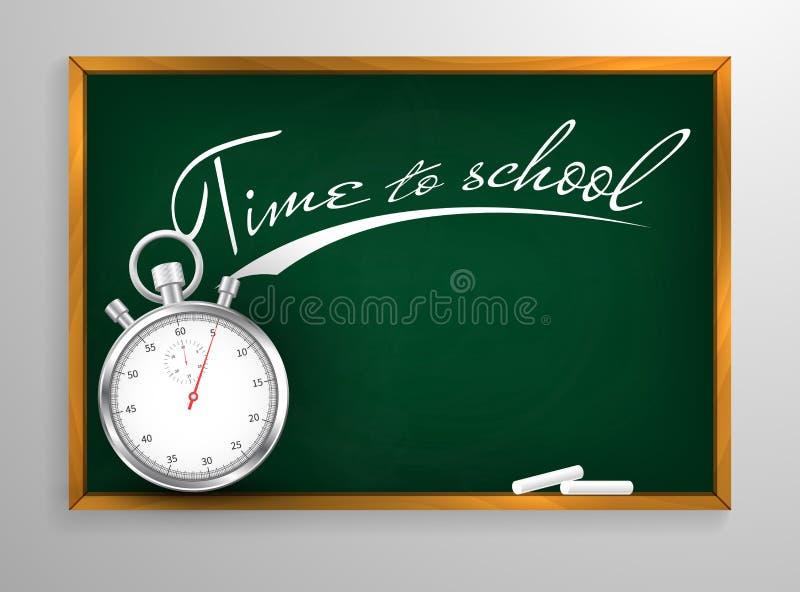 Χρόνος στο υπόβαθρο σχολικών πινάκων και το ξύλινο πλαίσιο, τριμμένος έξω βρώμικος πίνακας κιμωλίας, διανυσματική απεικόνιση ελεύθερη απεικόνιση δικαιώματος