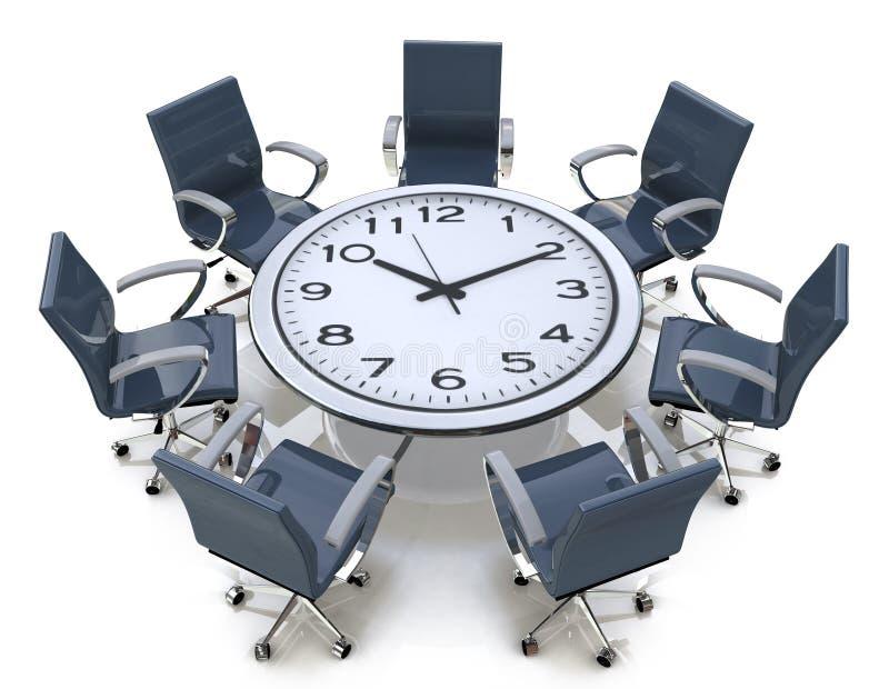 Χρόνος συνεδρίασης - διάσκεψη στρογγυλής τραπέζης με ένα μεγάλο πρόσωπο ρολογιών απεικόνιση αποθεμάτων