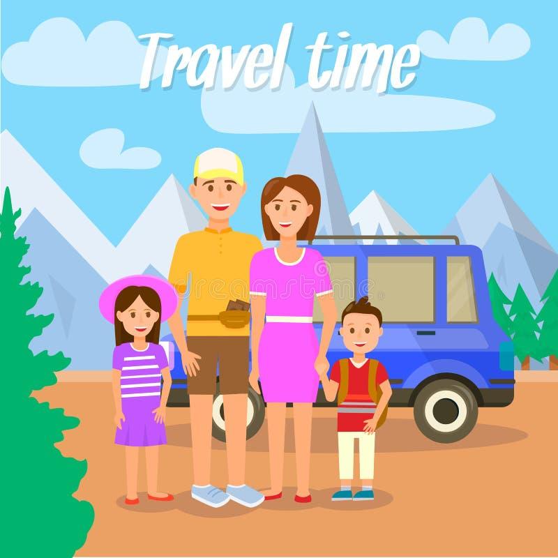 Χρόνος ταξιδιού Γονείς που ταξιδεύουν μαζί με τα παιδιά διανυσματική απεικόνιση