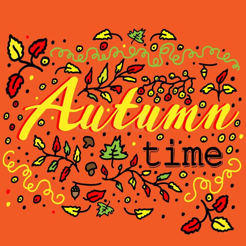 Χρόνος φθινοπώρου - διανυσματική απεικόνιση για το σχέδιο των θεμάτων, των καρτών και των εμβλημάτων φθινοπώρου Φράση εγγραφής ελεύθερη απεικόνιση δικαιώματος
