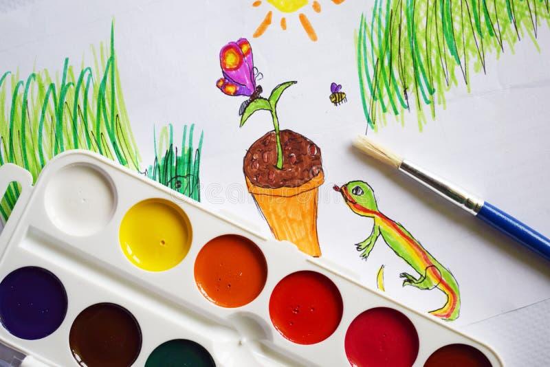 Χρώματα, δείκτες και σχέδια Watercolor στοκ εικόνα