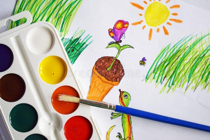 Χρώματα, δείκτες και σχέδια Watercolor στοκ φωτογραφίες με δικαίωμα ελεύθερης χρήσης