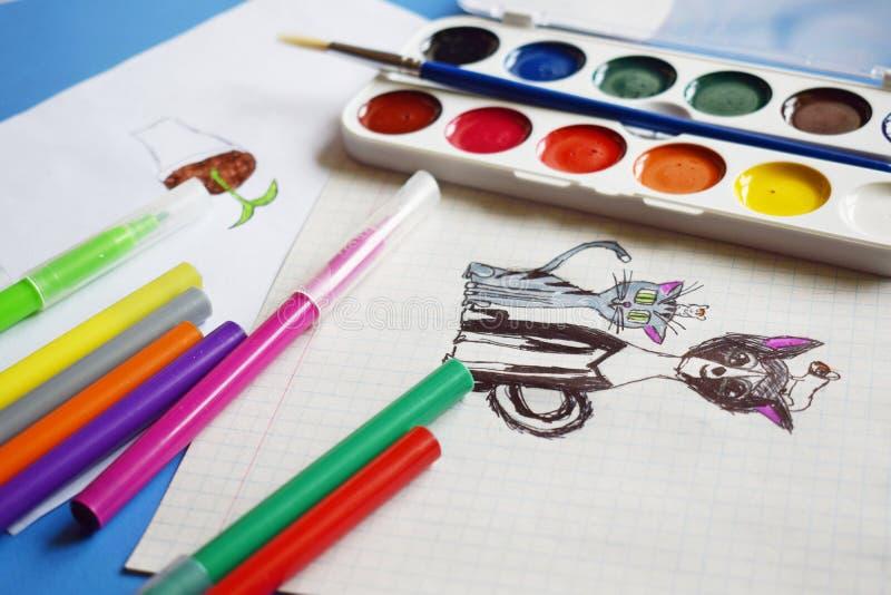 Χρώματα, δείκτες και σχέδια Watercolor στοκ φωτογραφίες