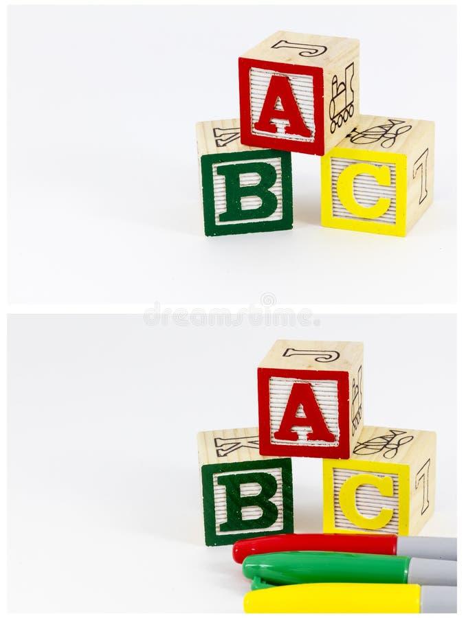 Χρώματα εκμάθησης κεφαλαίων γραμμάτων abc στοκ εικόνα