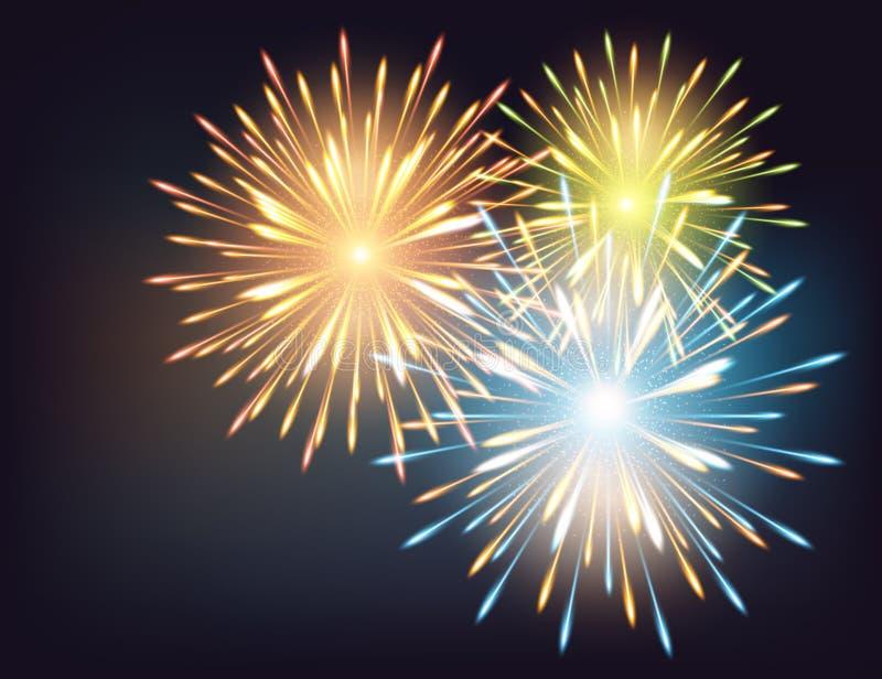 Χρώματα εκρήξεων πυροτεχνημάτων σε μια ευχετήρια κάρτα στην καλή χρονιά διανυσματική απεικόνιση