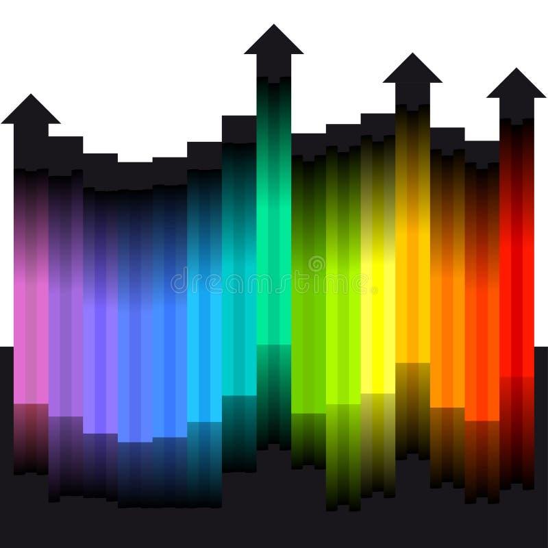 Χρώματα ουράνιων τόξων ως βέλη διανυσματική απεικόνιση