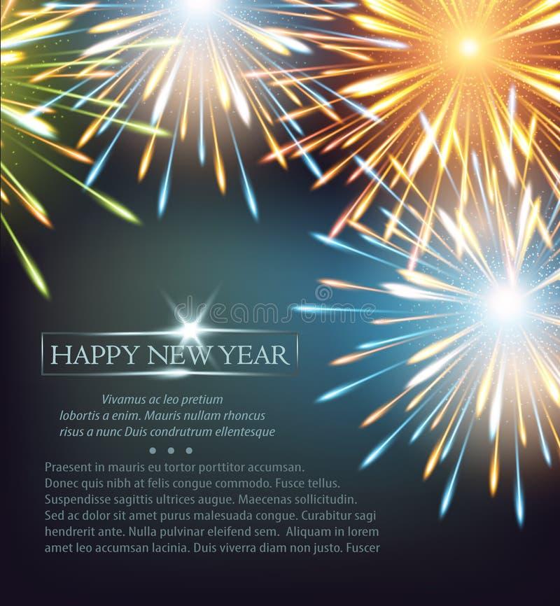 Χρώματα πλαισίων εκρήξεων πυροτεχνημάτων σε μια ευχετήρια κάρτα στην καλή χρονιά διανυσματική απεικόνιση